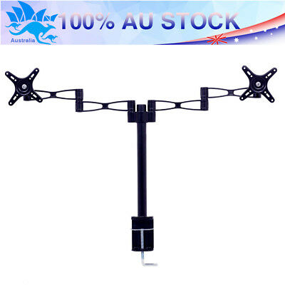 "AU 10""-27"" Dual Monitor Bracket LED LCD HD TV VESA Display Screen Desk Mount"