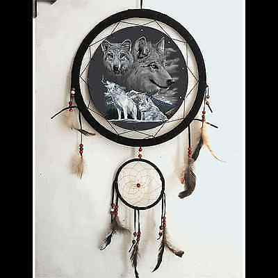 "15"" 3D Lenticular Wolves Wolf Pack Dream Catcher Wall Hang Decor Feathers Gift"