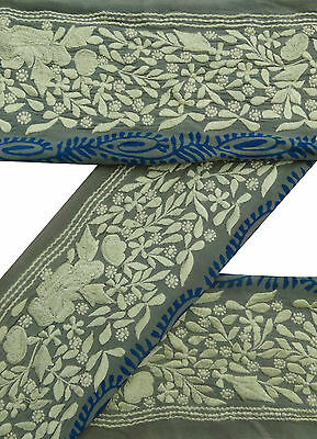 Vintage Sari Border Antique Used Embroidered 1YD Indian Trim Grey Ribbon Lace