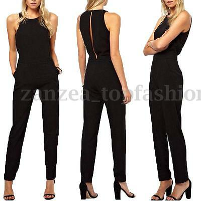 ZANZEA Celeb Womens Sleeveless Business Office Ladies Jumpsuit Romper Long Pants