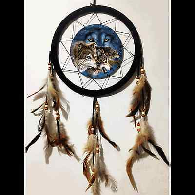 "10"" 3D Lenticular Wolf Pack Wolves Dream Catcher Wall Hang Decor Feathers Gift"