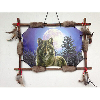 "22""x16"" Wolf Woods Full Moon Dream Catcher Wall Hang Decor Feathers Wood Frame"