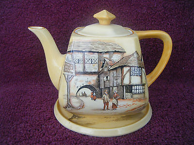 Lancaster & Sons Teapot With Base With The Inn Scene Of The Jolly Drover