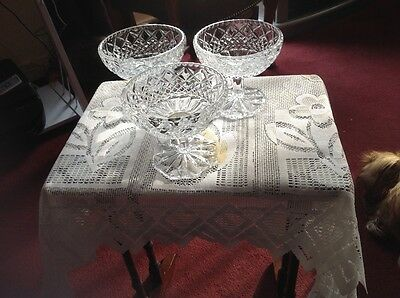 "SUNDIE DISHES IN CUT GLASS 3no 4"" HIGH"
