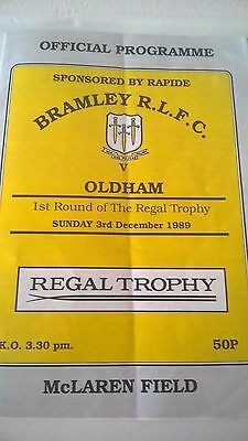 Bramley Rugby League  Programme 1989