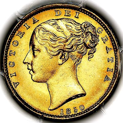 1850 Queen Victoria Great Britain London Gold Sovereign PCGS MS65+