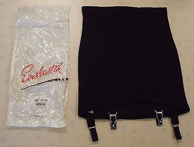 AUTHENTIC VINTAGE 1960's UNWORN EVERLASTIK GARTERED ROLL ON GIRDLE  BLACK MEDIUM
