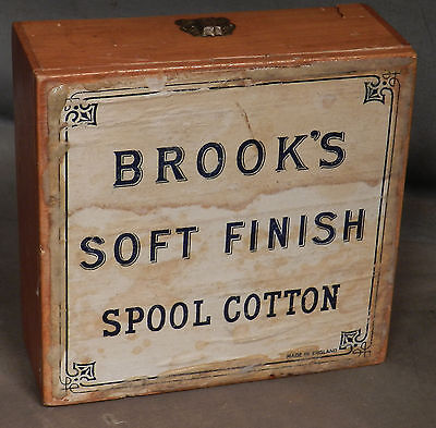 Antique BROOK'S SPOOL COTTON Thread cabinet Box Wood Paper Advertising Sewing