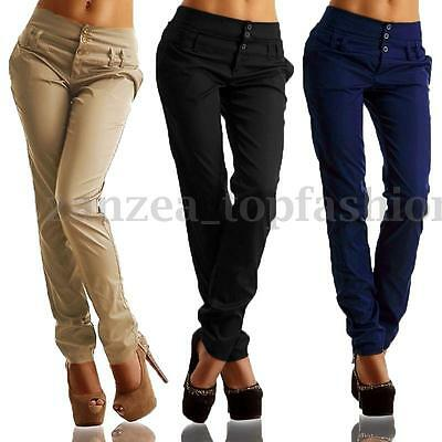 Fashion Women's Buttons High Waist Casual Solid Pencil Pants Long Pants Trousers