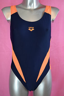 Women's Navy Blue and Orange Swimsuit by ARENA size UK 16-18