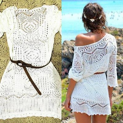 New Women Lace Crochet Bathing Suit Bikini Swimwear Cover Up Beach Dress Tops