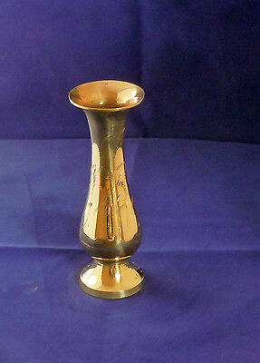 SOLID BRASS ETCHED BUD VASE 7.5 INCHES High