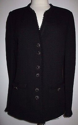 St John Collection Black Textured Knit Button Down Front Fringe Jacket Size 6/8
