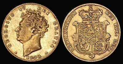 GREAT BRITAIN 1828 George IV gold ½ Sovereign . S-3804.