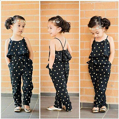 Toddler Baby Girls Strap Romper Jumpsuit Harem Pants Trousers Clothes  7T&