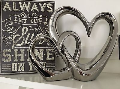 Chrome Silver Double Linked Entwined Heart Sculpture Ornament Valentines