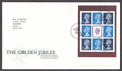 2002 The Golden Jubilee Se-Tenant Booklet Pane On Fdc