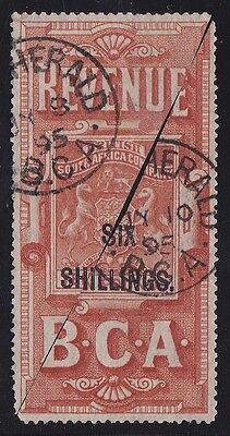 BRITISH CENTRAL AFRICA 1895 Tall Arms Revenue 6/- on £10 BISECTS RARE POSTAL USE
