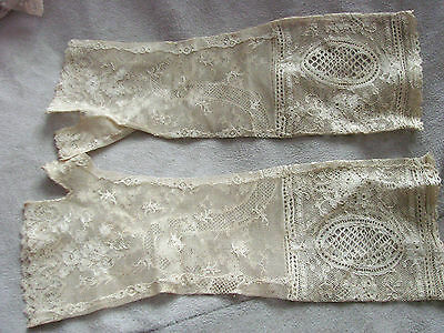 Vintage Edwardian Gloves Fingerless Gauntlets FINE LACE mitts  BRIDAL NOS Thumbs