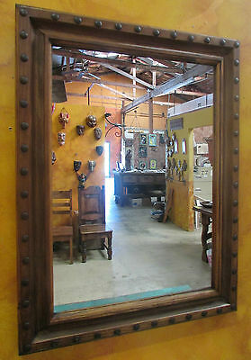 Hacienda Large Mirror-Clavo-Reclaimed Old Wood-Mexican-48x42-Western-Spanish