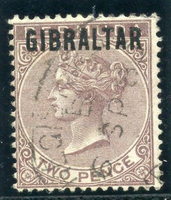 Gibraltar 1886 QV 2d purple-brown very fine used. SG 3. Sc 3.