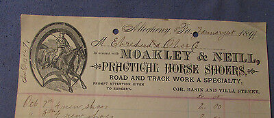 Antique 1891 Moakley & Neill Horse Shoers Allegheny Pa Bill Head Horse Shoe