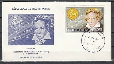 / Burkina Faso, Scott cat. 319. Composer Beethoven issue on a First Day Cover.