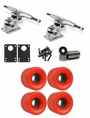 Gullwing Sidewinder Longboard Truck Wheel Combo 71mm x 52mm 83A 186C Red ground