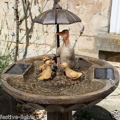 Smart Solar Umbrella Duck Family Bronze Effect Water Fountain Garden Feature