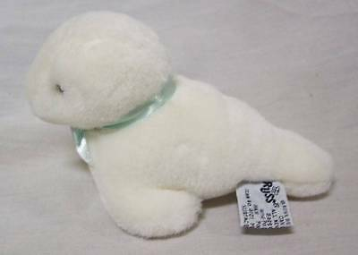 "Russ CUTE WHITE SEAL RATTLE 5"" Plush STUFFED ANIMAL Toy"