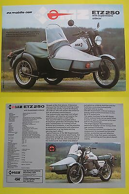 MZ 250 ETZ et side car brochure catalogue prospekt