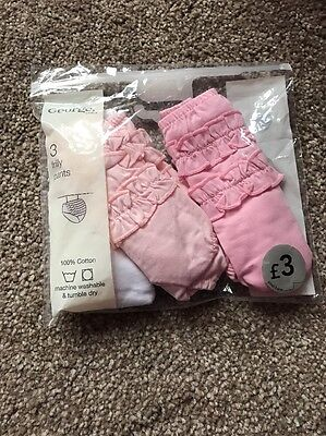 Asda 3 Pack Frilly Pants Pink And White Brand New 3-6 Months