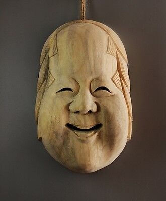 QH022 - 21x14x 17 cm Big Hand Carved Japanese Mask Carving