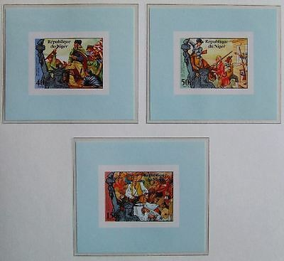 NIGER 1976 UNLISTED ImPerf MNH Sheets, 200 Years USA Independence, War Painting