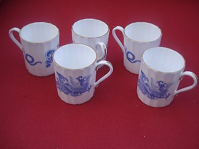 5 x Vintage Royal Worcester Blue Dragon Bone China Coffee Cans / Cups