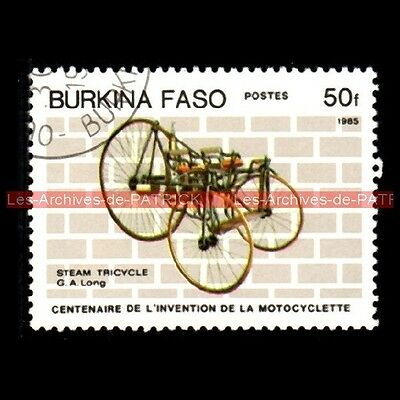 LONG STEAM Tricycle ( Georges LONG ) 1880 - BURKINA FASO Moto Timbre Francobollo