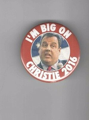 I'm BIG on CHRIS CHRISTIE President 2012 pin NJ Governor ALSO Also RAN pinback