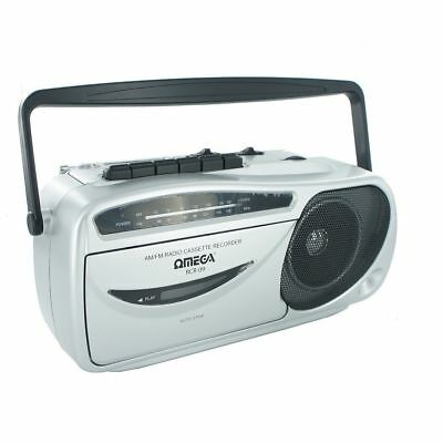 Silver Retro Style Portable Stereo Am/fm Radio Cassette Recorder - Built In Mic