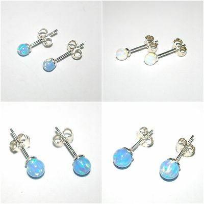 One Pair OPAL Ball Bead STUD Earrings Genuine 925 Sterling Silver 4mm, 5mm, 6mm