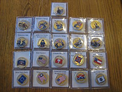Civil War Colorized Kennedy Half Dollar Coin Collection Lot Of 21 Coins