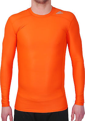 Adidas Tech-Fit Chill Long Sleeve Mens Compression Top - Orange