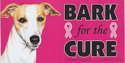 Whippet BARK for the CURE Pink Ribbons Breast Cancer car MAGNET 4X8 MADE IN USA
