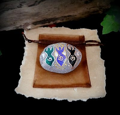 Hand Painted Triple Goddess and Moon Stone Altar Piece Witch Wiccan Pagan Gift