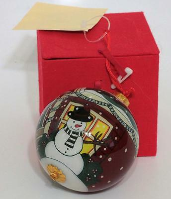 """Inside (Reverse) 3"""" Hand Painted Snowman Glass Christmas Tree Ornament"""