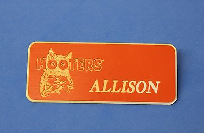 HOOTERS RESTAURANT GIRL ALLISON ORANGE NAME TAG / PIN -  Waitress Pin