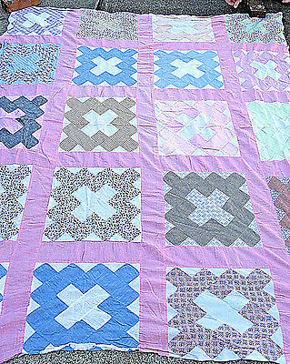 Antique Vintage Album Pattern Quilt Top All Cotton  Fabric