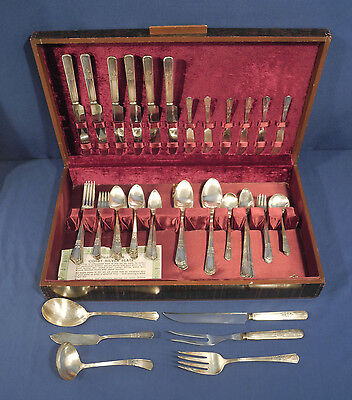 "80 pcs Court Silver Plate 1939 International Silverplate ""Court"" with Box"