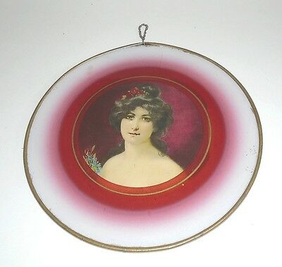"10-1/4"" Antique Flue Cover with Portrait of a Lady"
