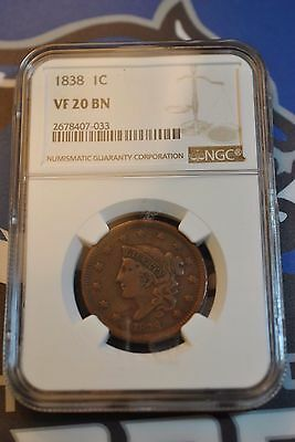 1838 LG Cent Penny 1C NGC VF20 BN  A7