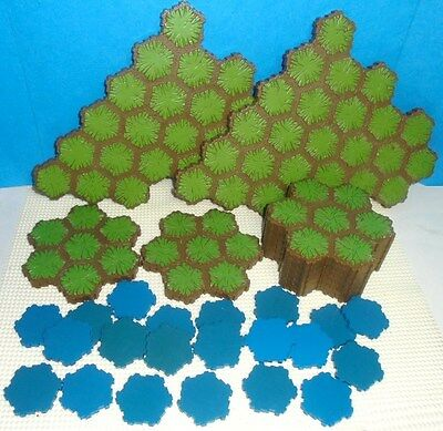 Heroscape .. 125 Hex GRASS & WATER TERRAIN ... for Battlefield